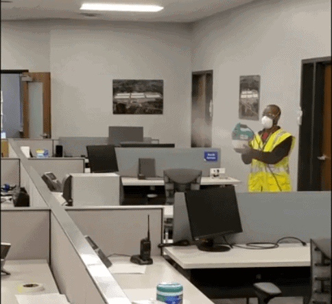 disinfectant spraying office